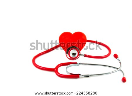 Red stethoscope with red heart