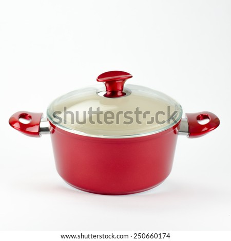 Red stew pot, isolated on white background. - stock photo