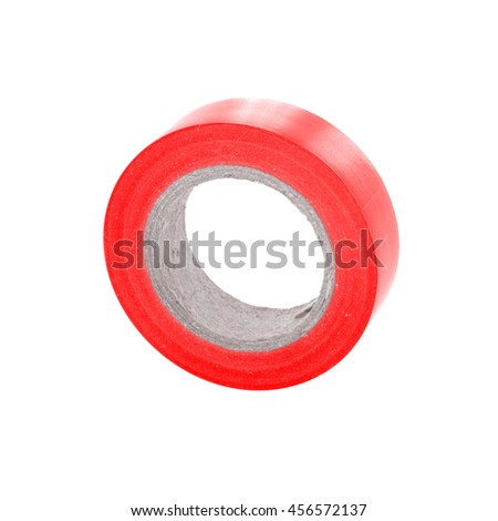 Red sticky insulation tape reel.