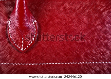 Red Stitched Macro Detail Of Woman Handbag - stock photo