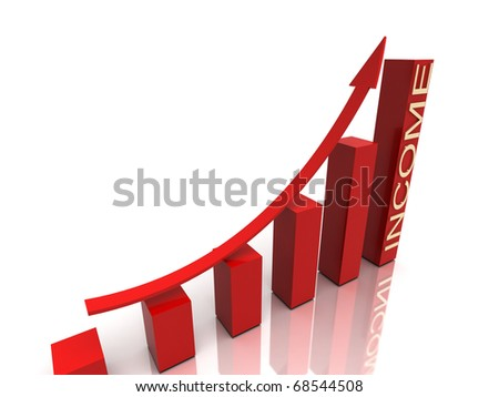 red stock chart with golden income text