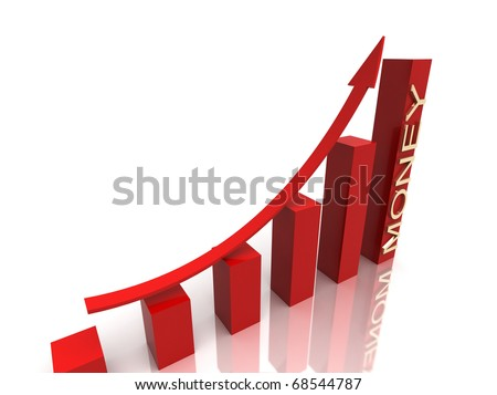 red stock chart with golden money text