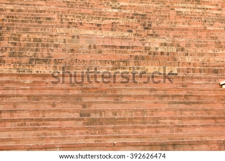 Red stone stairs at entrance of Buland Darwaza, Fatehpur Sikri, Agra, India - stock photo