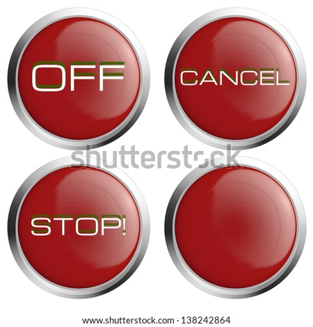 Red stop button icon set - stock photo