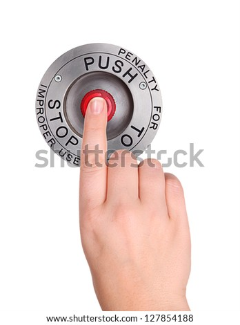 Red STOP button, Isolated - stock photo