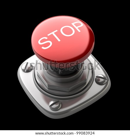 Red STOP button Isolated High resolution. 3D image