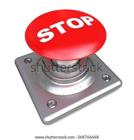 Red STOP button Isolated High resolution. 3D image in the design of the information related to the risk - stock photo