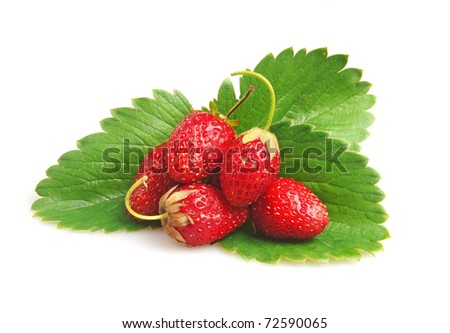 red straberries with green leaves