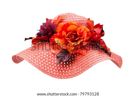 red straw hat with flower