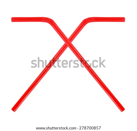 Red straw on white background
