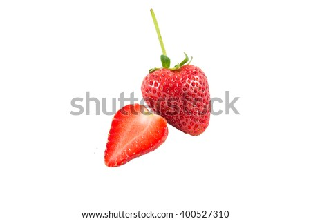 red strawberry isolate on white background - stock photo