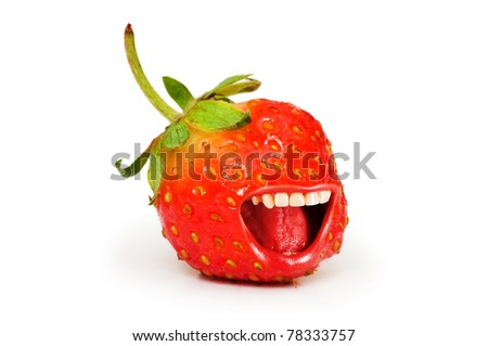 Red strawberry isolated on the white background - stock photo