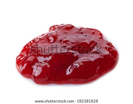 red strawberry jam isolated on a white background - stock photo