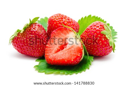 Red strawberry with leaf isolated on white