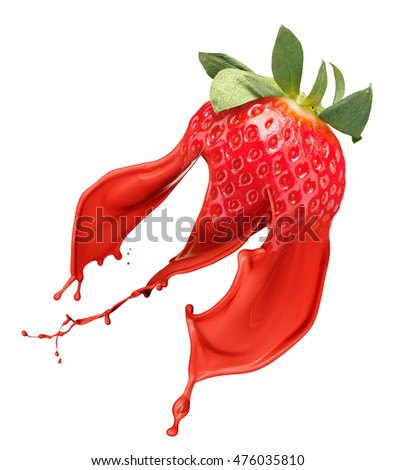 Red strawberry with pait splash isolated on white background