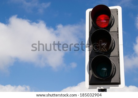 Red street light. - stock photo