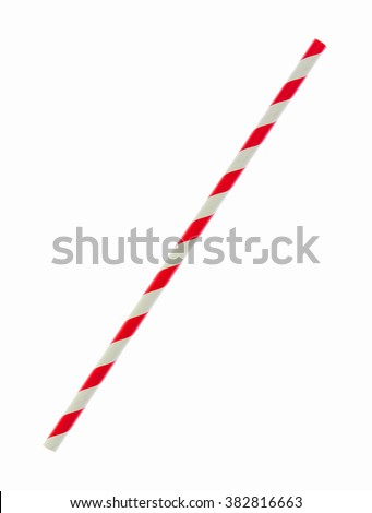 Red striped paper straw isolated on white background (Clipping Paths Included)