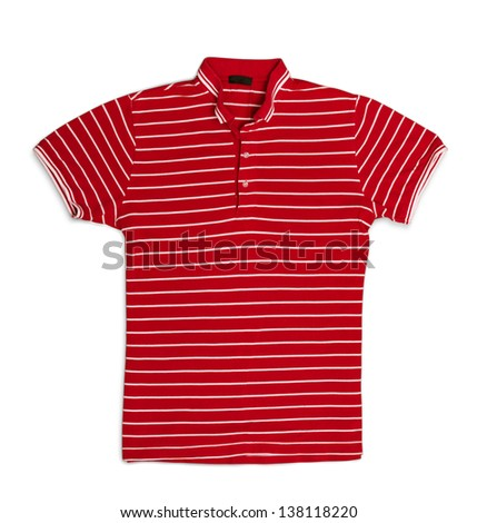 Red striped polo t-shirt isolated on white - stock photo