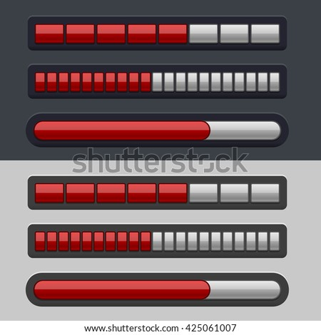 Red Striped Progress Bar Set on light and dark background.