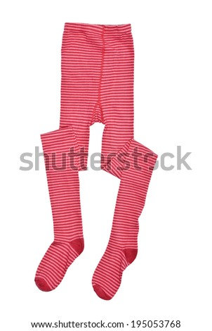 Red striped tights isolated on white background.