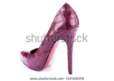 red stylish leather high heels shoes stilettos isolated on white background - stock photo
