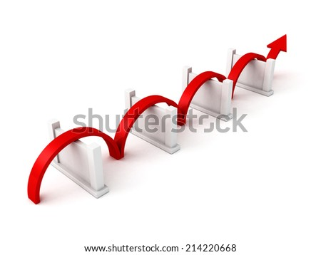 Red success arrow overcome barriers. concept 3d render illustration - stock photo