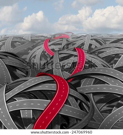 Red success path concept as a group of tangled roads and a highlighted pathway leading to a an easy solution on a challenging journey towards a goal. - stock photo