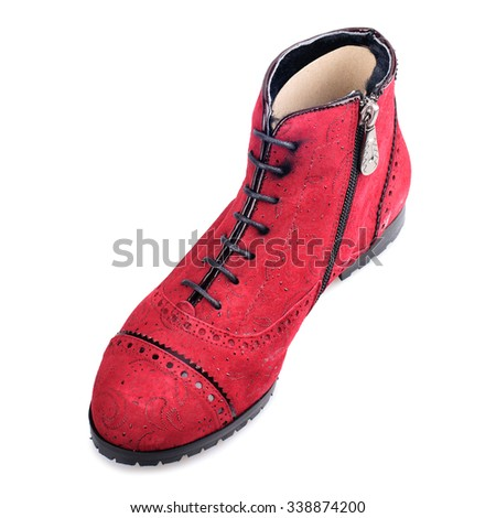 Red suede boot isolated on white background.Top view. - stock photo