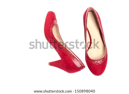 Red Suede Pumps Isolated on White - stock photo