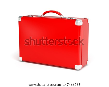 Red suitcase isolated on a white background. 3d illustration of single glossy travel case with silvery details - stock photo