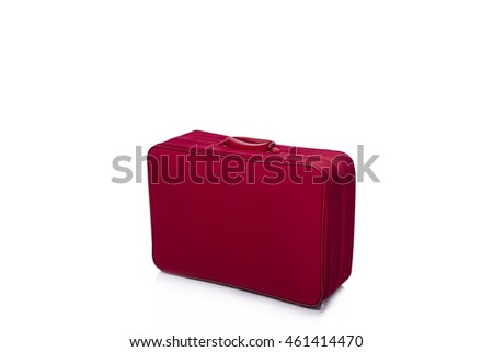 Red suitcase isolated on the white background