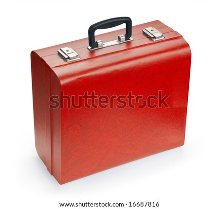 Red suitcase, isolated on white background