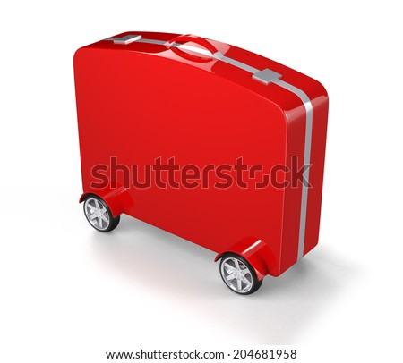 Red Suitcase with Car Tire