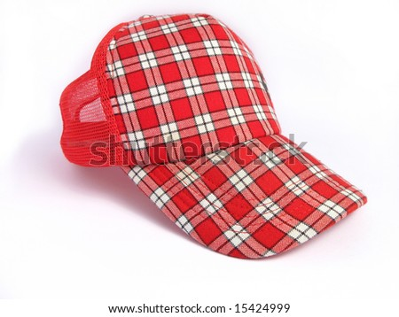 Red Summer Plaid Cap on white background
