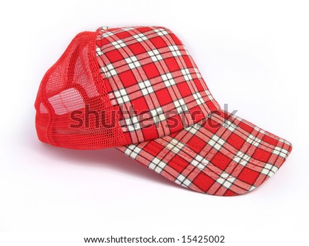 Red Summer Plaid Cap on white background - stock photo