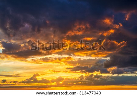 Red summer sunset clouds background. - stock photo