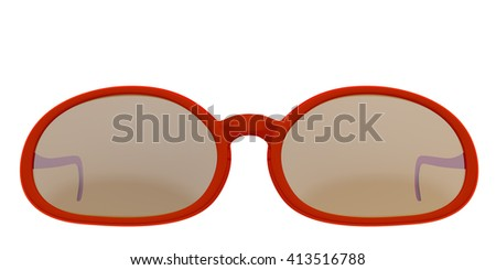 Red sun glasses isolated on white background. Include clipping path. 3D render - stock photo