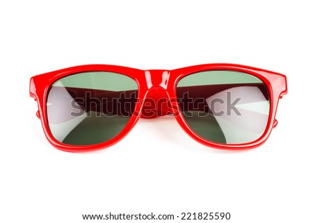 Red sun glasses on white background - stock photo