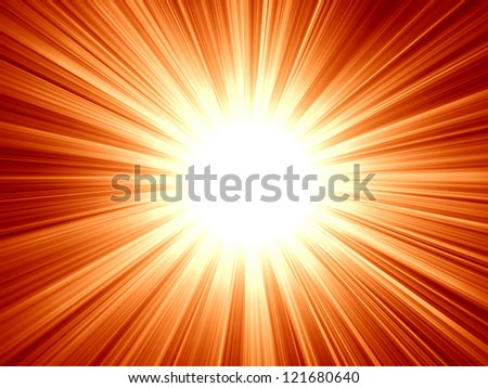 red sun with some bright rays