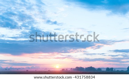 Red Sunbeams Farm Pasture  - stock photo