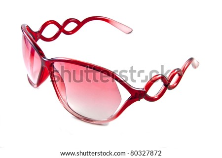 Red sunglasses isolated on the white background - stock photo