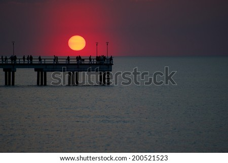Red sunset at spring time
