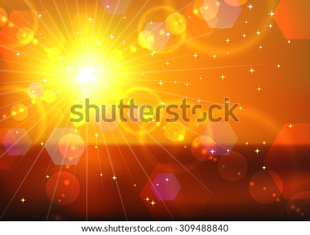 Red sunset background.  - stock photo