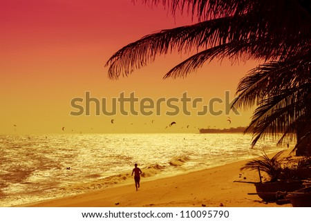 Red sunset on the Vietnam coast with kites - stock photo