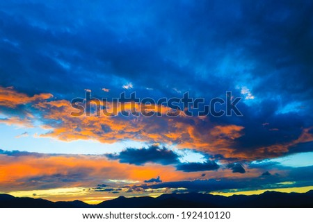 Red Sunset over Mt. Mansfield, Stowe, Vermont, USA - stock photo