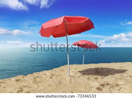 red sunshades - stock photo
