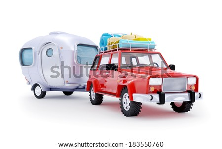Red suv adventure with trailer on white background - stock photo