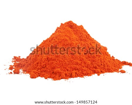 red sweet paprika powder isolated on white background