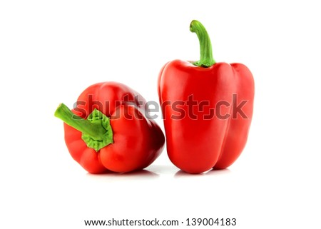 Red sweet pepper on a white background  with a clipping path