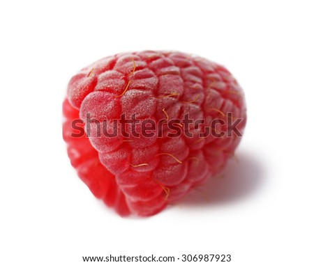Red sweet raspberry isolated on white
